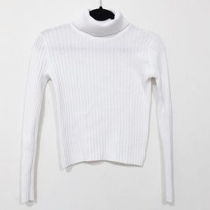 EXPRESS Knit Sweater Turtleneck White Size Small